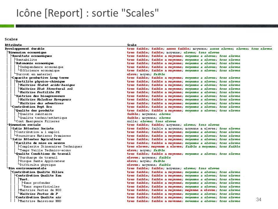 Icône [Report] : sortie Scales